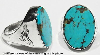 RARE Huge OLD PAWN 1930s Natural Turquoise 21.7g 925 Silver Mans Ring 11.5