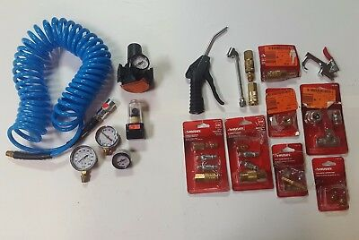 LOT OF HUSKY Air Compressor tool Fittings hose Regulator pistol gauge coupler