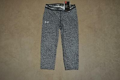 Under Armour Girls Printed Capris 1271020 100 Black/White Size Medium NWT