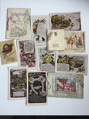 A small collection of vintage 1920's & 30's Greetings cards, birthday & xmas.