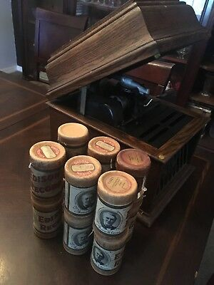 Antique Edison Phonograph With 12 Cylinder Records See Description