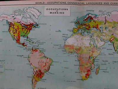 World occupations languages currencies industry Coinages 1925 commercial map