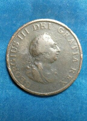 1799 Great Britain, George III One Penny, Old British Copper Coin, U.K.#8