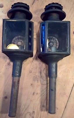Pair of Victorian carriage lamps - bevelled glass