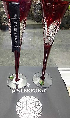 *NEW* Waterford Crystal TIMES SQUARE IMAGINATION Ruby Red Toasting Flute NIB
