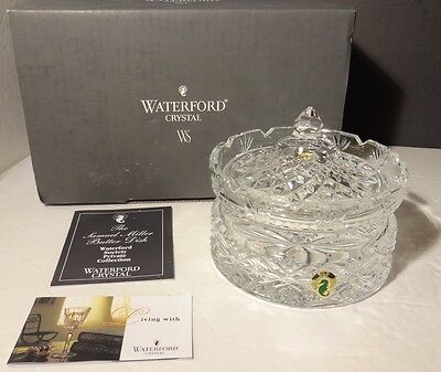 "*NEW* Waterford Society Crystal SAMUEL MILLER (2001) Butter Dish 5 1/2"" IRELAND"