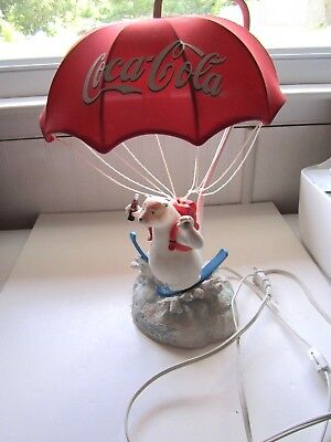 Coca-Cola Polar Bear Lamp--Bear Skiing With Attached Parachute