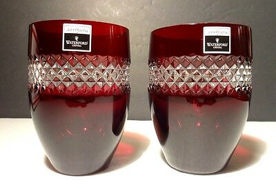 *NEW* Waterford Crystal JOHN ROCHA Red Cut Double Old Fashioned Tumbler 4 1/2""