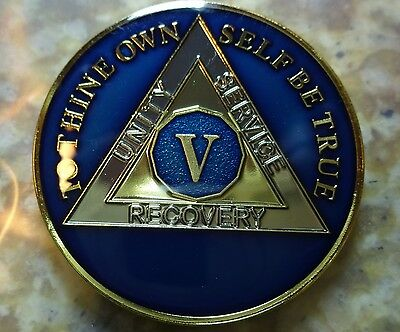 AA Blue Gold 5 Year Coin Tri-Plate Alcoholics Anonymous Medallion Sobriety Chip