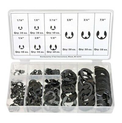 300pc E-Clip Assortment SAE Black Oxide Fastener Set Retaining Ring Kit TAIAE300