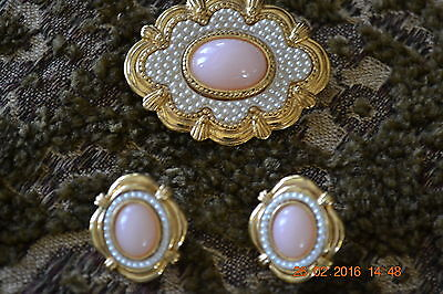 Lovely Vintage Brooch & Pierced Earrings Set, Gold Plated Pink Stone/seed pearls