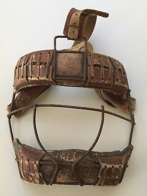 Vintage Softball,Baseball CATCHERS PROTECTIVE FACE MASK.Leather & metal.Complete