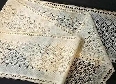 "3yards 14"" Edwardian Chemical Lace  Mixed Technique 8 1/2"" wide Salvage Remnants"