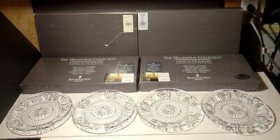 "Waterford Crystal MILLENNIUM (1996-2005) 5 Toasts Set 4 Accent Plates 8"" IRELAND"