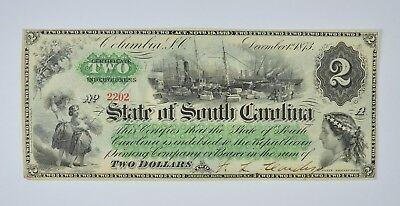 1873 $2.00 EARLY State of South Carolina Bank Note - Crisp *818
