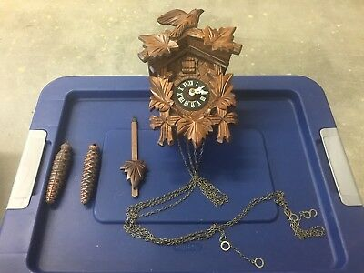 German Cuckoo clock black forest? wood carving Weights Chains