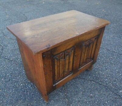 Antique French Gothic Linen Fold Carved Oak Trunk Chest Blanket Box Bench Table
