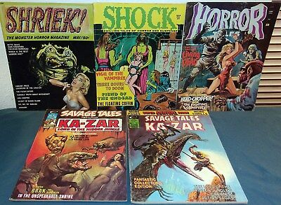 5 Horror/Fantasy Comic Magazines HORROR/SHOCK/SHRIEK/Ka-Zar Savage Tales +2
