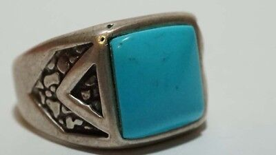 E536 Vintage Sterling Southwestern Signed Faux Turquoise Ring Signed $© S: 8 1/4