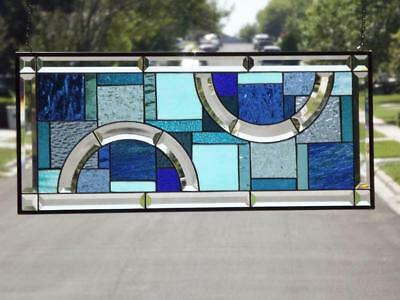 """•My Blue Heaven •Beveled Stained Glass Window Panel ≈30 1/2""""x 13 1/2""""( 78x34cm)"""