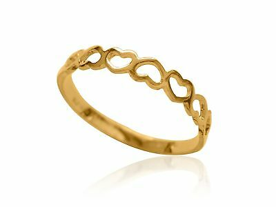 10K Solid Yellow Gold Heart Kids Ring Baby Childrens Size 3