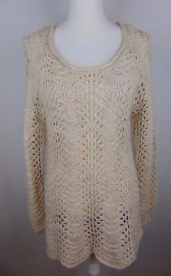 Jessica Simpson Maternity Womens Large Beige Knit Long Sleeve Sweater