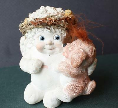 DREAMSICLE Angel Hand Painted Figurine Artist Kristin 93 Brown Puppy Dog Kisses