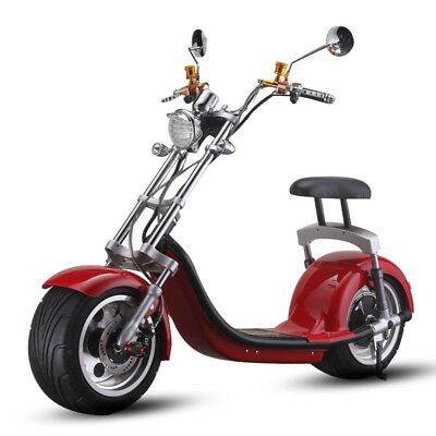 Electric e Scooter Harley style 1200W 60V 20AH lithium battery red Tire 18 inch