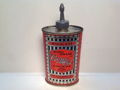 Vintage Boye Can Handy Oiler NOS FULL Lead Top rare tin gas oil sewing house old