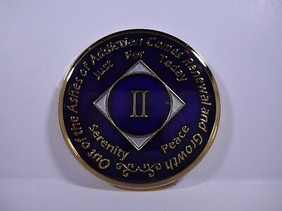 NA Purple Gold Coin 2 Year Tri-Plate Narcotics Anonymous Medallion+Capsule&Stand