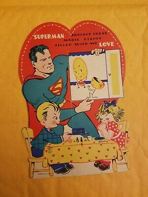 Vintage 1940s Superman Valentine Card  Collectible Valentines Day magic dishes