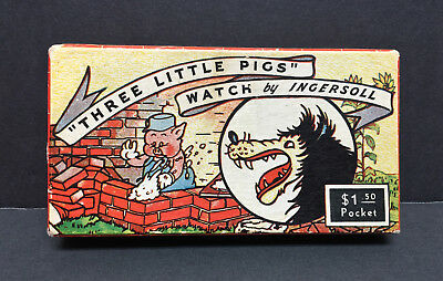 1930's Ingersoll Disney THREE LITTLE PIGS Pocket Watch with box - BIG BAD WOLF