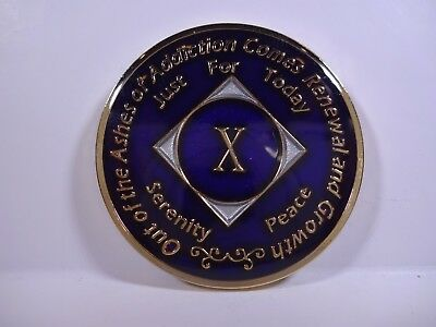 NA Purple Gold Coin 10 Year Tri-Plate Narcotics Anonymous Medallion+Capsul&Stand