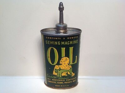 Vintage Sewing Can FULL Rare Lead Top handy oiler machine House oil tin gas Old