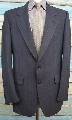 Savile Row single Breasted Size 40R Black Striped  2 Piece Wool Mens Suit