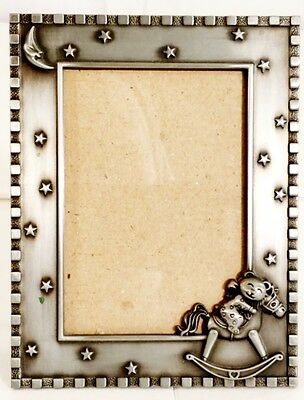 Nice Metal Baby Picture Frame w/ Teddy Bear, Rocking Horse & Stars Pewter Color