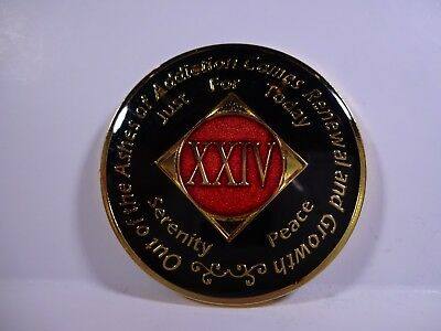 NA Black Red Coin 24 Year Tri-Plate Narcotics Anonymous Medallion +Capsule&Stand