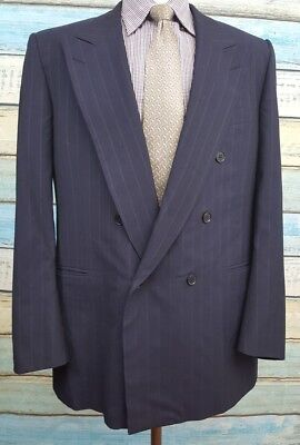 Samuelsohn Double Breasted Size 44L Dark Blue Striped  2 Piece Wool Mens Suit