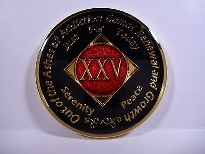 NA Black Red Coin 25 Year Tri-Plate Narcotics Anonymous Medallion +Capsule&Stand