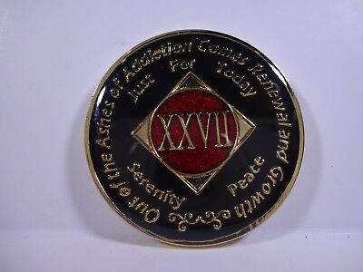 NA Black Red Coin 27 Year Tri-Plate Narcotics Anonymous Medallion +Capsule&Stand