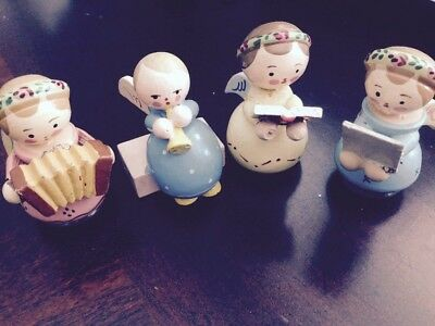Vintage Wooden Christmas Angels Playing Instruments Singer Made in Italy Lot 4