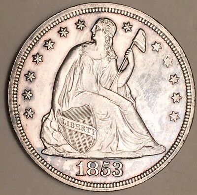 1853 Seated Liberty Dollar AU+ Details
