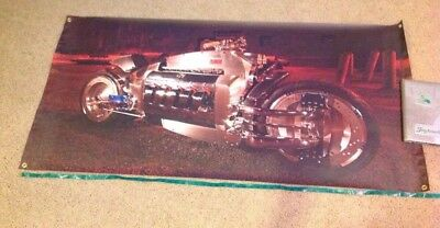 Dodge Tomahawk Motorcycle Picture Banner Man Cave Wall Hanging Poster X Large