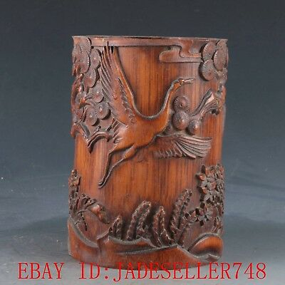 Chinese Bamboo Pole Hand Carved Crane & Children & tree Brush Pot DY355