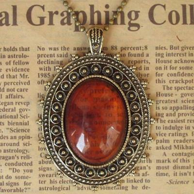 New Fashion Punk Retro Vintage Pendant Necklace Jewelry Long Chain Hot Red Amber
