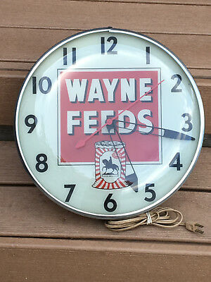GENUINE WAYNE FEEDS PAM CLOCK Light-Up SIGN Vintage PAM Clock Wayne Feeds Works