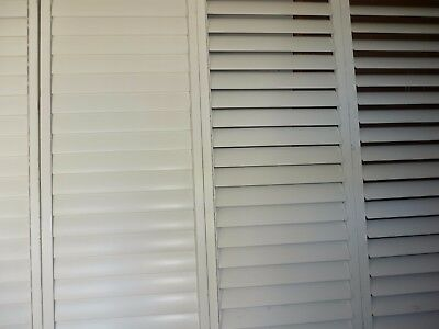 Timber White Plantation Shutter X4 good working order with tracks