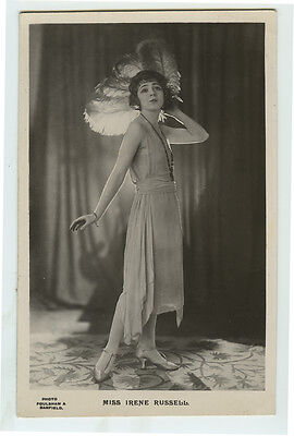 1920's British Deco CUTE IRENE RUSSELL showgirl theater photo postcard