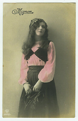 c 1920 Young Girl in Teens PRETTY GYPSY tinted photo postcard