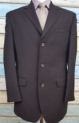 CHAPS  3 Button  Size 38R Black Striped Single Breasted 2 Piece Wool Mens Suit